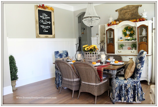 French Farmhouse Style Fall Dining RoomLarge Personalized Chalkboard-Blue Floral Dining Parson Chairs-Basket of Sunflowers-From My Front Porch To Yours