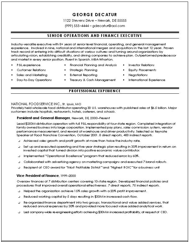 Executive Resume Samples Slim Image