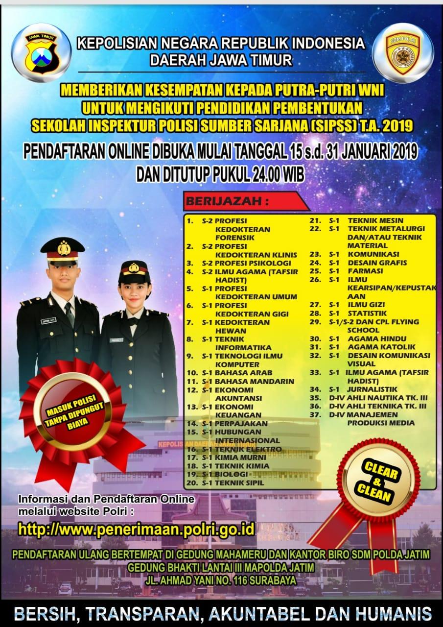 Penerimaan Sekolah Inspektur Polri Sumber Sarjana (SIPSS)