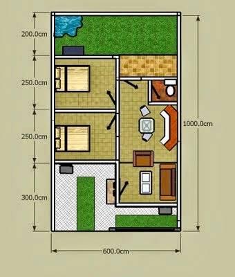 52+ trend terpopuler denah rumah 6x6 2 kamar tidur denah rumah