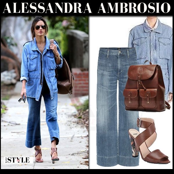 Alessandra Ambrosio in denim rta nicolas jacket, denim cropped flared citizens of humanity abigail jeans with brown backpack ghurka what she wore model style