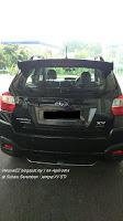Kereta Subaru XV STI Hitam bahagian belakang di subaru Seremban.