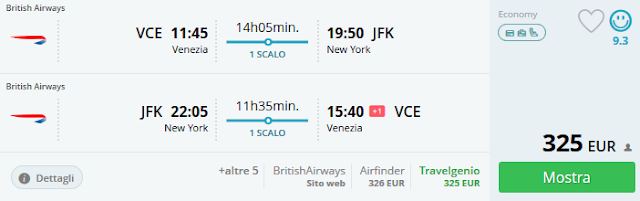 Venezia - New York (JFK) a/r a 325 €