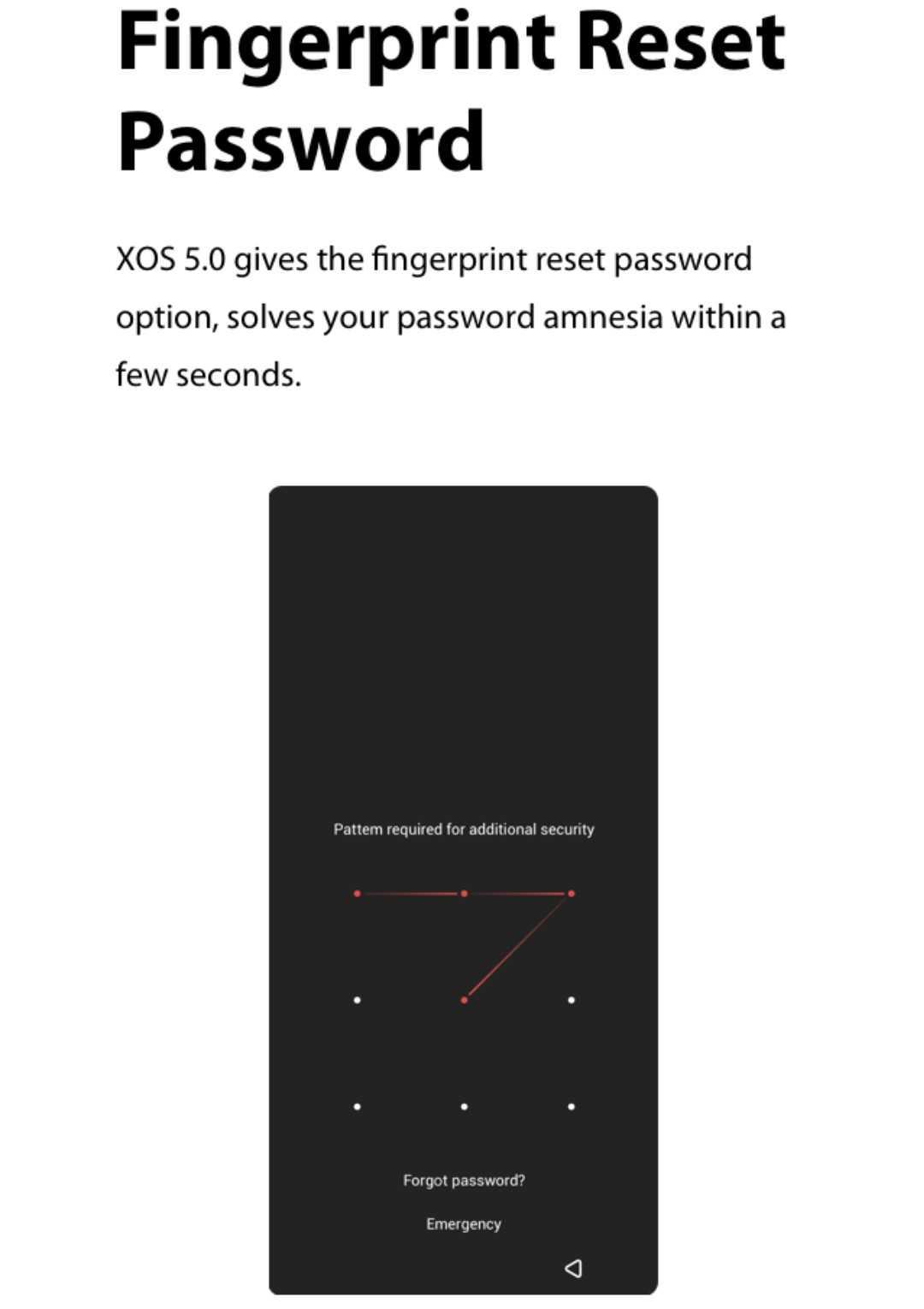 XOS 5.0 Cheetah fingerprint reset password