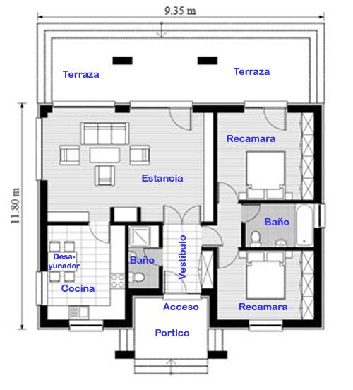 plano y fachada de casa chica de un nivel proyectos de