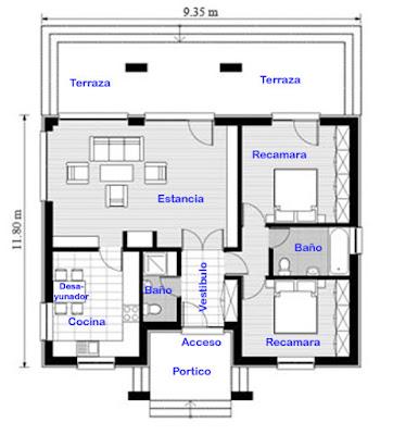 Plano y fachada de casa chica de un nivel.