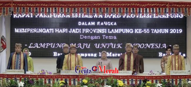 Sidang Istimewa HUT Lampung, Diawali Prosesi Adat Kanjauan