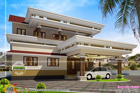 Modern square roof house in Kerala