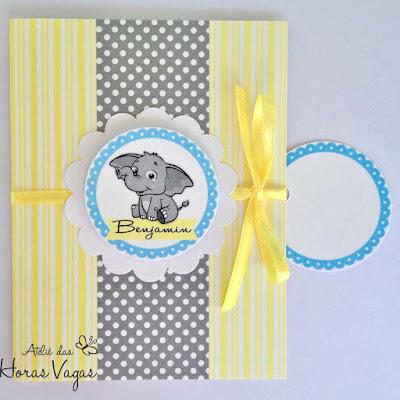 convite elefante amarelo e cinza