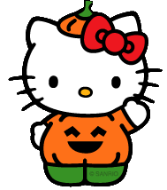 Hello kitty disfrazada de calabaza