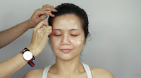 Inner Double Folded Eyelid Makeup -Apply a layer of liquid foundation and lightly blend well with beauty blender.