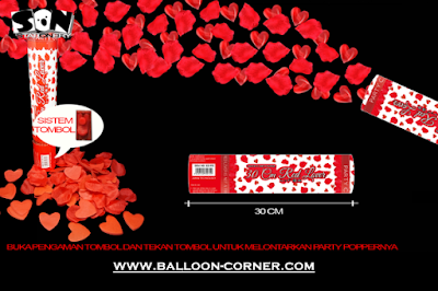 Party Popper Red Lover / Confetti Red Lover Ukuran 30 Cm (TOMBOL / PENCET)