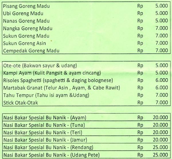 Beauty Plus Tanjung Duren: Harga Pisang Goreng Madu Bu Nanik Terbaru 2017
