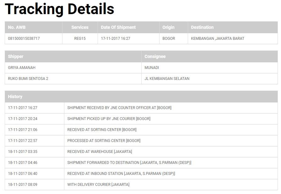JNE Tracking Details
