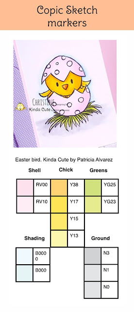 Copic color combination chart of Easter bird digital stamp