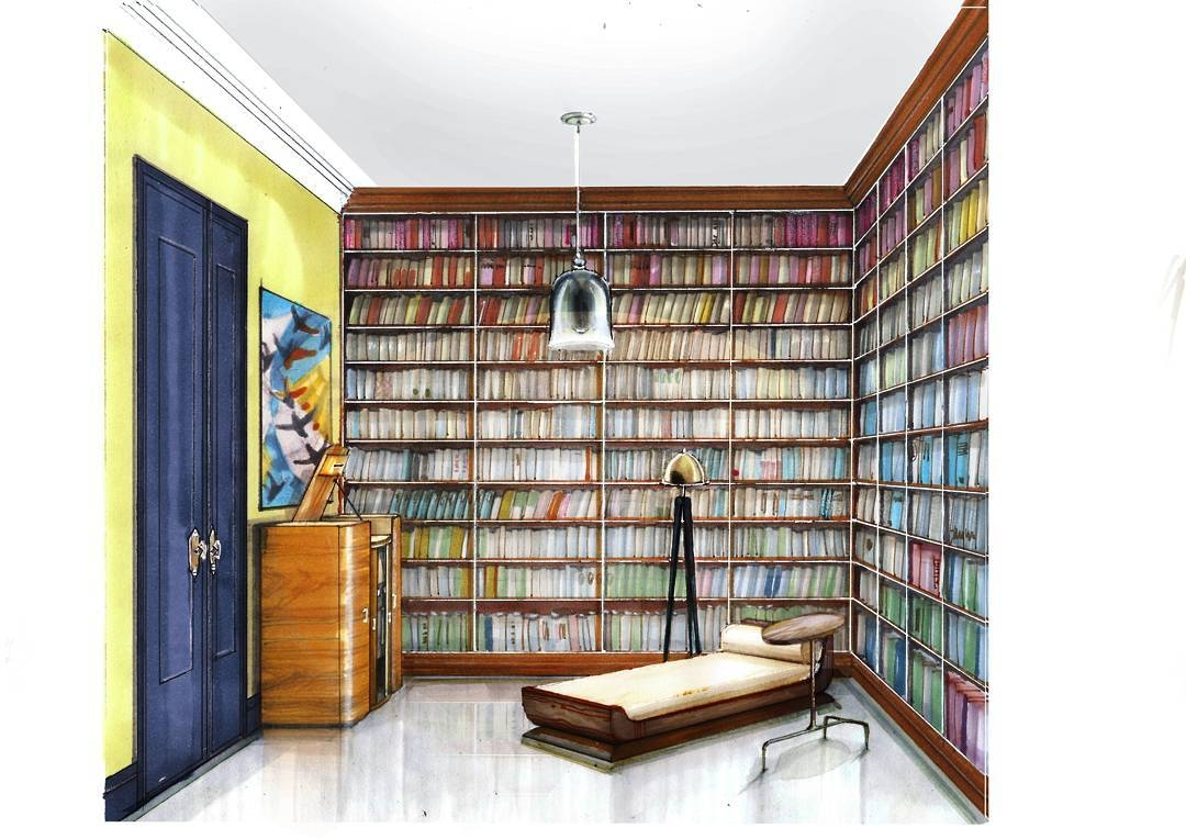 11-Personal-Library-Мilena-Interior-Design-Illustrations-of-Room-Concepts-www-designstack-co