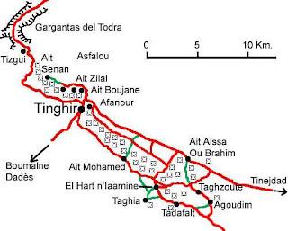 Mapa de las Gargantas del Todrá.