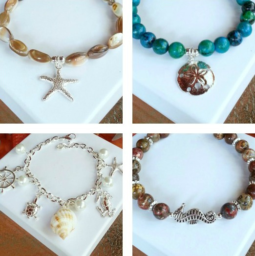 Beaded Beach Charm Bracelets