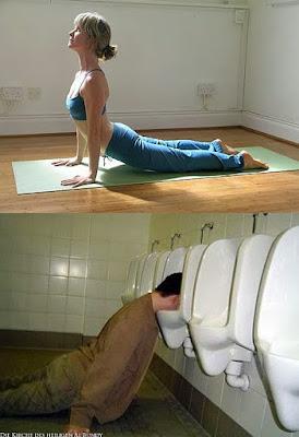 Lustiger Sport - auf dem Klo Kopf über - Steck den Kopf rein und rieche