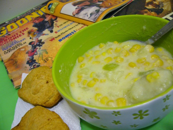 """Chunky"" Corn Chowder and Biscuits by Coffee and Casseroles (inspired by The Goonies for Food 'n Flix)"