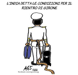 Girone, marò, tribunale internazionale, arbitrato, India, satira, vignetta