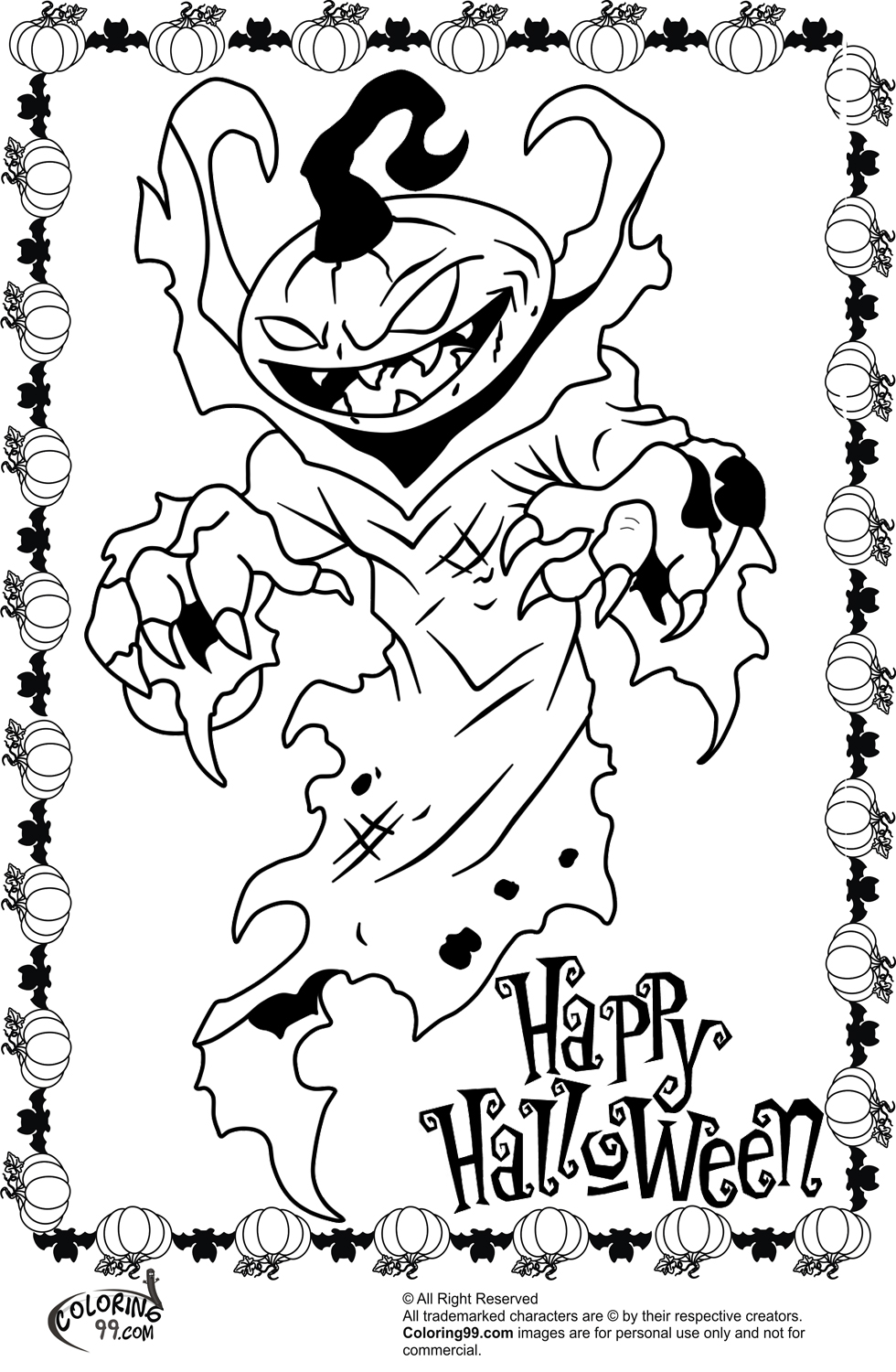 printable scary pumpkin coloring pages - photo#18