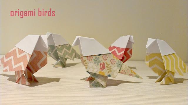 pajaros de papel de origami