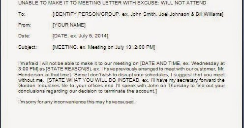 Cannot Attend Meeting Email