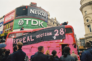 Repeal action in London c1998 - Bus painted pink