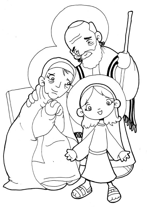 Dibujos para catequesis san joaqu n santa ana y la for Ana coloring pages