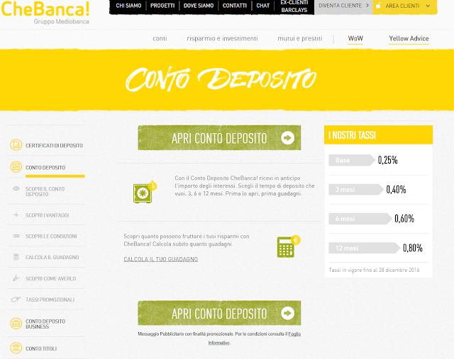 Conto Deposito CheBanca! rendimento, spese, conviene investire?