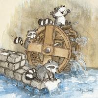 Kinderbuchillustration, Waschbär, niedlich, Bilderbuch, Tiere, Aquarell, Kinderlied, Mühle