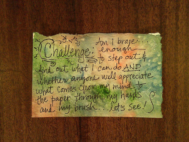 Index card #8, Challenge to myself, Christy Sheeler artist, watercolor, black and white pen on watercolor paper