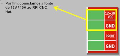 conectando a fonte de 12V/10A ao RPi CNC Hat