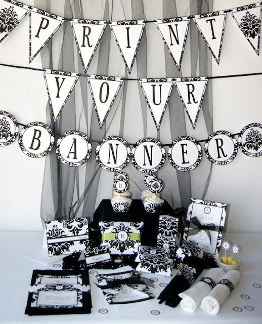 damask preto e branco adesivos e lembrancinhas e bandeirolas para sua festa