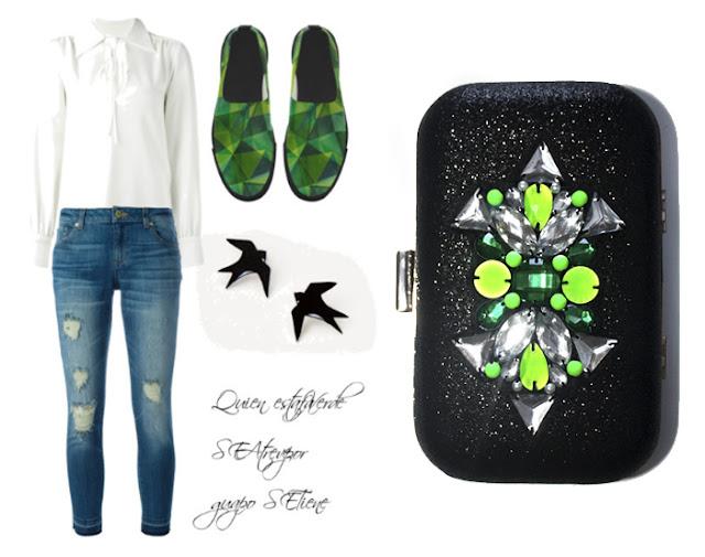 Clutch joya negro y verde para un look con vaqueros