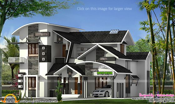 Contemporary mix roof house