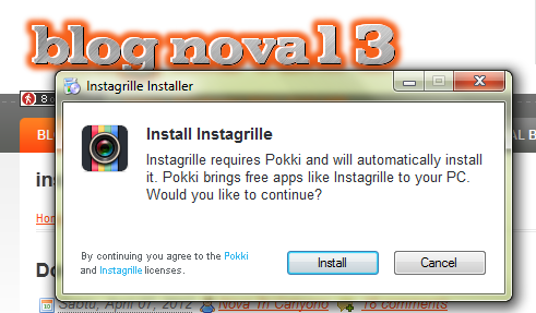 mulai install instagrille