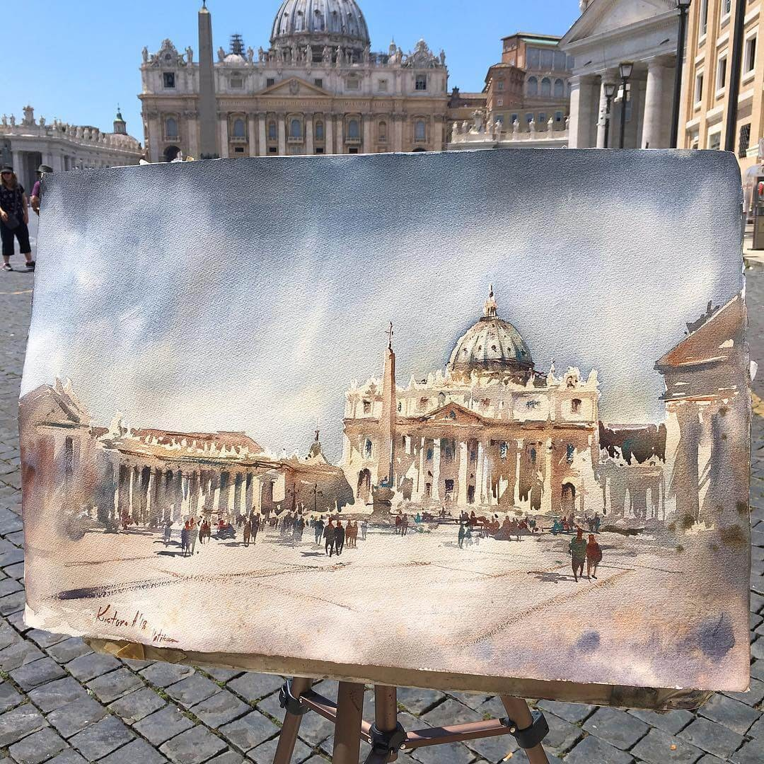 10-Vatican-Anastasia-Kústova-Architectural-Watercolor-Paintings-En-Plein-Air-www-designstack-co