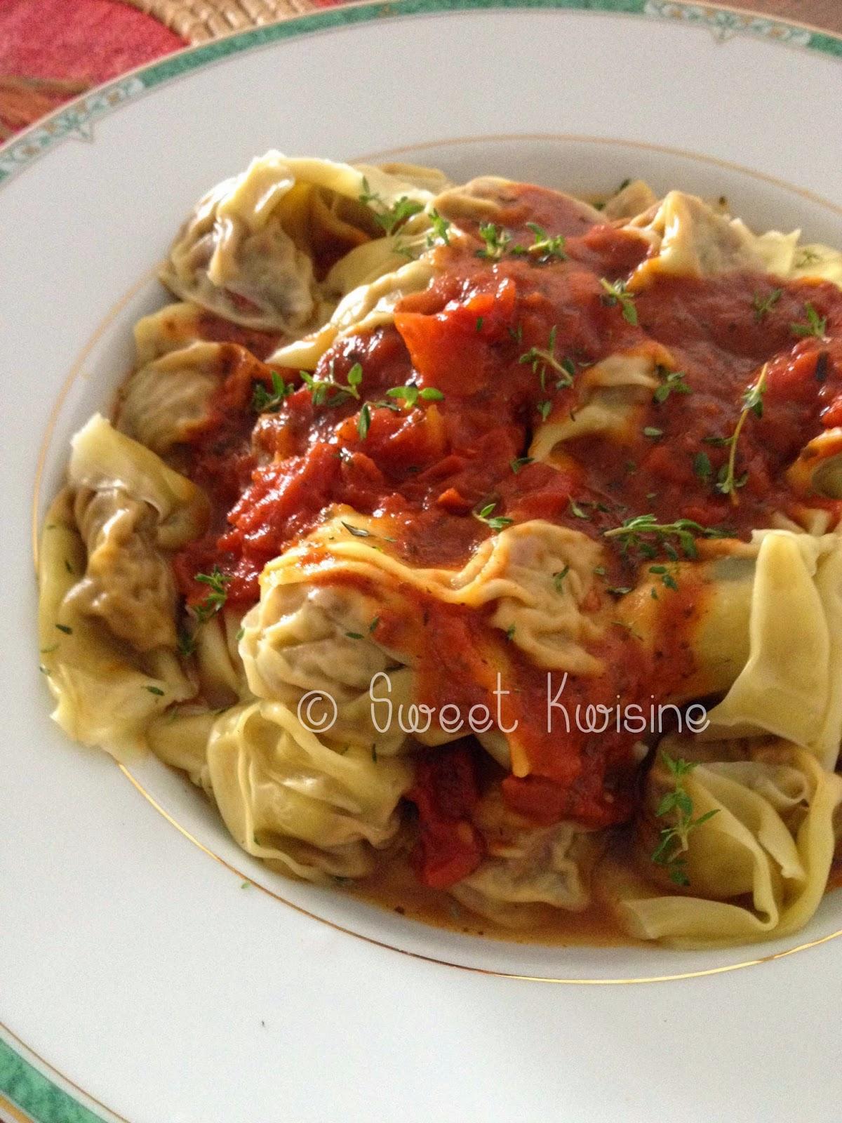 sweet kwisine, pâtes, raviolis, aubergines, végétarien, tomates, parmesan