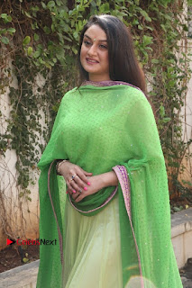 Actress Sonia Agarwal Stills in Green Anarkali Dress at Agalya Tamil Movie Launch  0008.jpg