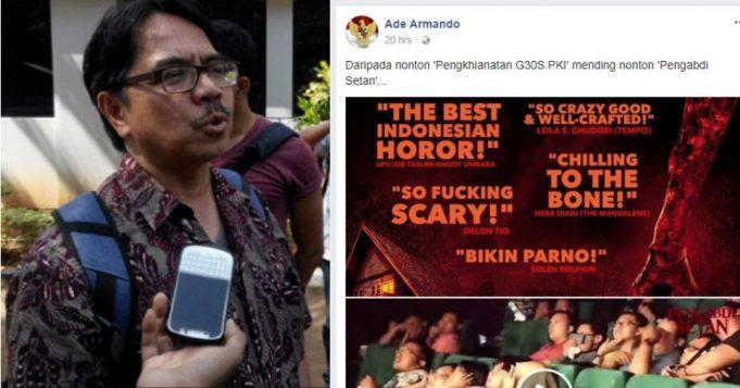 Ade Armando Sebut, Daripada Nonton 'Pengkhianatan G30S PKI' Mending Nonton 'Pengabdi Setan'