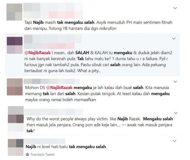 Tak Nak Mengaku Salah, Ini Luahan Rakyat Buat Najib Razak