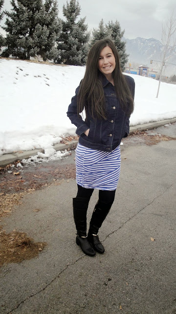 jean jacket, striped skirt, inspired by tess, jcpenneys, cute, marc fisher, marc fisher boots, over the knee boots,