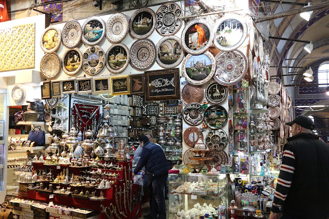 More handicraft goods at Grand Bazaar in Sultanahmet area in Istanbul, Turkey