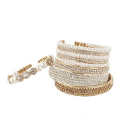 Multiple studded pearl bangles