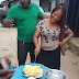 First in History? Nigerian Woman Celebrates Her Birthday as She Happily Cuts Her 'Eba Birthday Cake