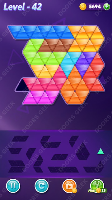 Block! Triangle Puzzle 12 Mania Level 42 Solution, Cheats, Walkthrough for Android, iPhone, iPad and iPod