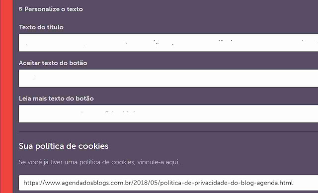Como personalizar um aviso de cookies no blog.