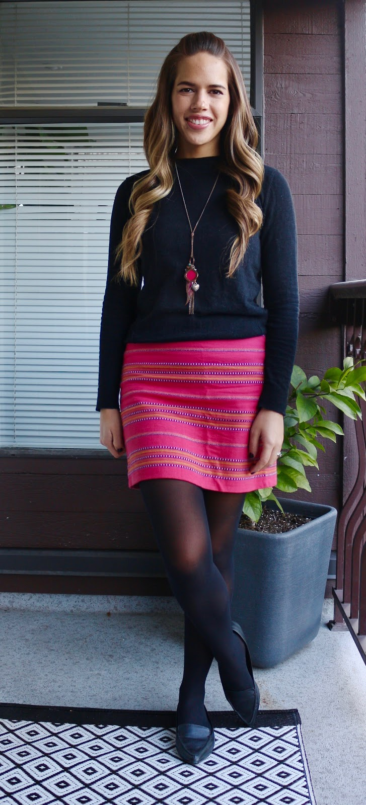 Jules in Flats - Striped Mini Skirt for Work
